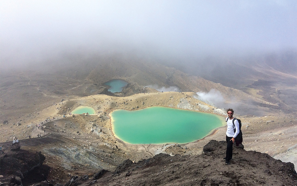 thomas giddens at emerald lakes tongariro alpine crossing new zealand