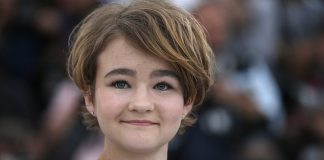 Actress Millicent Simmonds poses for photographers during the photo call for the film Wonderstruck at the 70th international film festival, Cannes, southern France. (AP Photo/Alastair Grant)