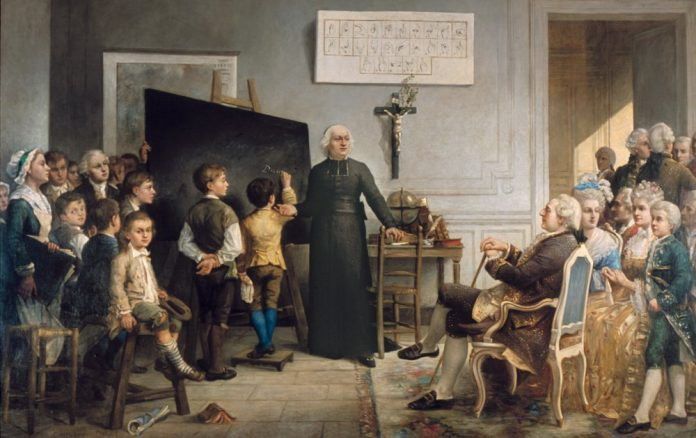 Abbé de l'Eppé teaching Deaf children in front of Louis XVI